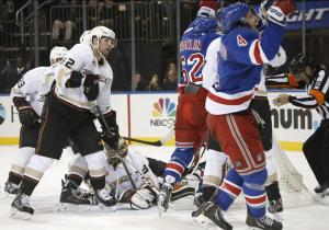 Mike Del Zotto and Carl Hagelin celebrate his first goal of the season. AP Photo/Kathy Willens