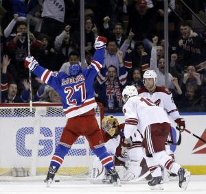 Mac Truck OT Hero: Ryan McDonagh celebrates his overtime winner highlighting the Rangers' 4-3 win over the Coyotes. AP Photo/Seth Wenig