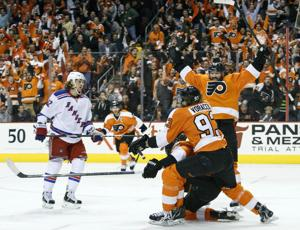 Simmonds Magic: Flyer Wayne Simmonds played the Game 6 hero in their 5-2 win over the Rangers forcing Game 7 tomorrow at MSG. AP Photo/Chris Szagola