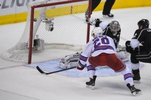 Chris Kreider scores a power play goal in Game 5.  AP Photo/Mark J. Terrill