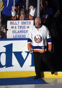 Billy Smith leads the Islanders out on his special night. AP Photo by Kathy Kmonicek/Getty Images