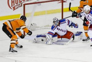 Cam Talbot denies Braydon Schenn. He finished with 31 saves in the Rangers' 2-0 shutout over the Flyers. AP Photo by Frank Franklin II/Getty Images