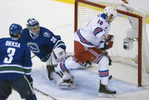 Miller Time: J.T. Miller finishes off a goal in the Rangers 5-1 win over the Canucks. AP Photo by Jonathan Hayward/The Canadian Press