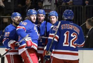 Stemping Up: Lee Stempniak celebrates a goal with teammates. AP Photo by Frank Franklin II/Getty Images