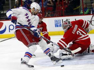 Rick Nash can't get one to go by Anton Khudobin. The Rangers need more from their best players down the stretch. AP Photo by Karl B. DeBlaker/Getty Images