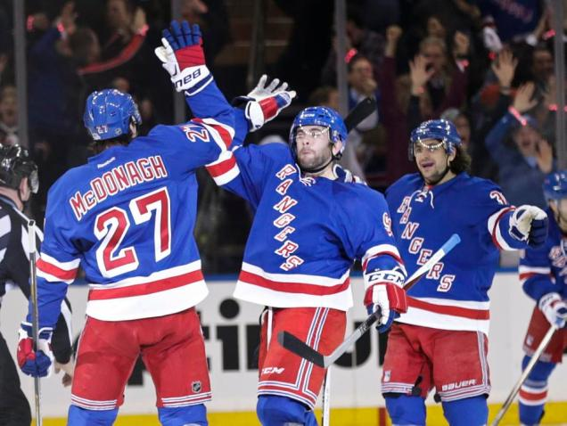 Ryan McDonagh celebrates his power play goal with Mats Zuccarello and Keith Yandle. It proved to be the game-winner in the Rangers' 2-1 win over the Pens in Game 1. AP Photo by Frank Franklin II/Getty Images