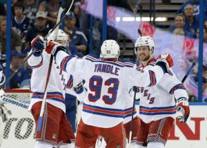 Keith Yandle celebrates his goal that made it 3-1 late in the second with Rick Nash and Kevin Klein. AP Photo by Chris O'Meara/Getty Images