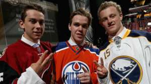 Future Watch: Top 3 picks Connor McDavid (middle), Jack Eichel (right) and Dylan Strome (left) pose for a photo op. AP Photo by Dave Sandford/NHLI via Getty Images