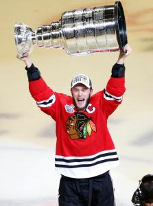 Sweet Home Chicago: Hawks captain Jonathan Toews lifts the Stanley Cup following the Blackhawks 2-0 home victory over the Lightning in Game 6 to capture the franchise's third Cup in six years. The first time they clinched on home ice since 1938.  AP Photo by Charles Rex Arbogast/Getty Images