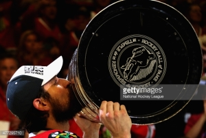 Patrick Sharp kisses the Stanley Cup. The former Blackhawk was dealt to the Stars over the weekend.  Getty Images