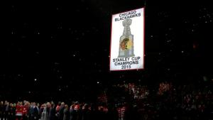 The Blackhawks raised their Stanley Cup banner before the Season Opener against the Rangers who spoiled the party winning 3-2 at the United Center. AP Photo by Nam Y. Huh/Getty Images