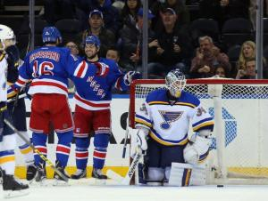 Derick Brassard and Mats Zuccarello celebrate Brassard's early goal in another Rangers win.  AP Photo by Bruce Bennett/Getty Images