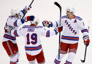 Fast Gets One: Jesper Fast celebrates his 2nd goal of season with Dan Girardi in Rangers 4-1 win at Coyotes.  AP Photo by Ross D. Franklin/Getty Images