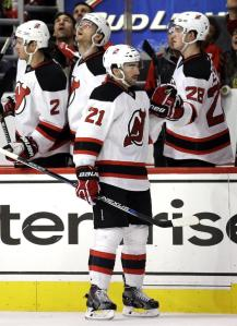 Kyle Palmieri celebrates his second period goal in a Devils win over the Hawks.  AP Photo by Nam Y. Huh/Getty Images
