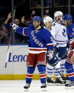 This Zucc's For You: Mats Zuccarello celebrates his game-winning goal with less than a minute left in the Rangers' 4-3 win over the Leafs. AP Photo by Seth Wenig/Getty Images
