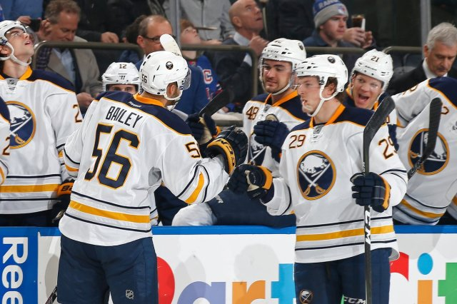 Justin Bailey celebrates his first career NHL goal in a Sabres 4-1 win over  a lifeless Rangers bb3960774