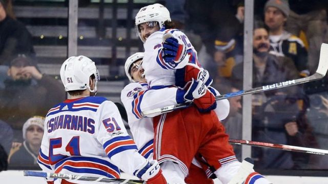 Chris Kreider has a little fun with OT hero Mats Zuccarello lifting him up  after his power play goal gave the Rangers a huge 3-2 win over Boston to  sweep a ... 3dca99646